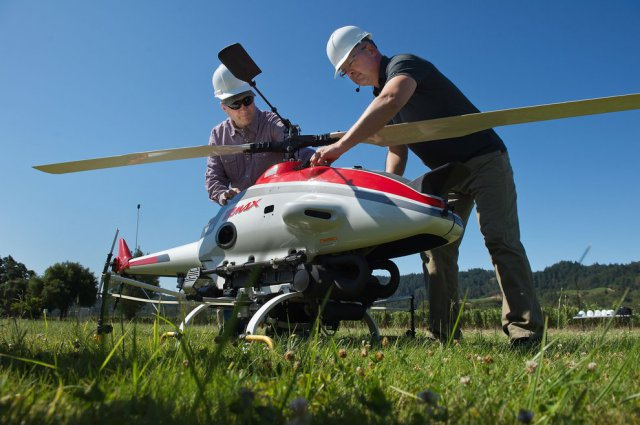 Testing Unmanned Helicopters for Pesticide Spraying in California
