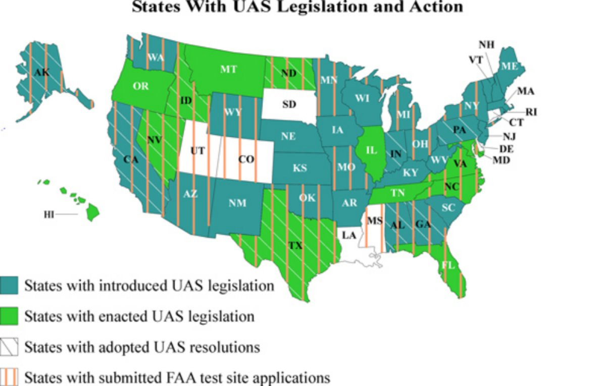 Latest Map Of American States With UAS Legislation UAS VISION - Drone ban map