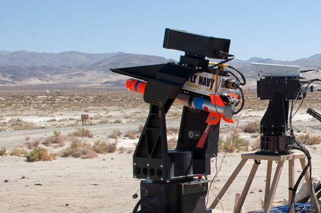 Spike loaded on a rail launcher for a recent counter-unmanned aerial vehicle demonstration on the land range at Naval Air Warfare Center Weapons Division China Lake - U.S. Navy photo
