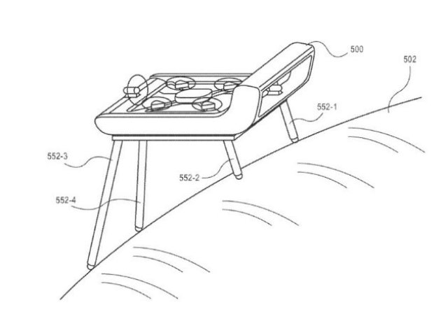 A diagram shows how an Amazon drone could land on a sloping surface while keeping its main frame level, thanks to telescoping landing legs. (Amazon Illustration via USPTO)