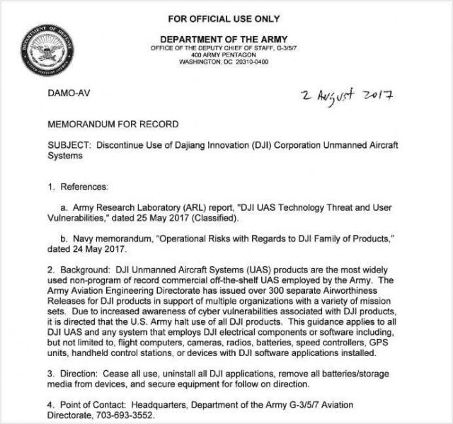 us army bans dji products uas vision